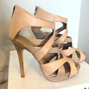 Aldo tan beige strappy sandals heels 37 7